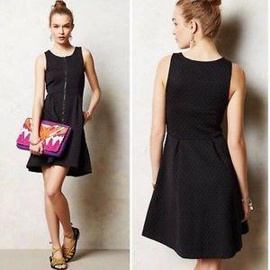 Anthro black textured polka dot zipper mini dress